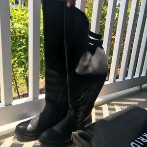 Black over knee boot